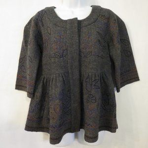 DKNY 100% Wool coat Small Gray Embroidered Peplum